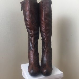 Impo faux snakeskin Heeled Tall Boot. Brown Sz. 8.